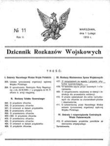 Dziennik Rozkazów Wojskowych, 1919, R. 2, nr 11