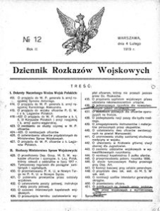 Dziennik Rozkazów Wojskowych, 1919, R. 2, nr 12
