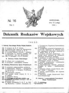 Dziennik Rozkazów Wojskowych, 1919, R. 2, nr 16