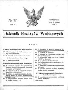 Dziennik Rozkazów Wojskowych, 1919, R. 2, nr 17