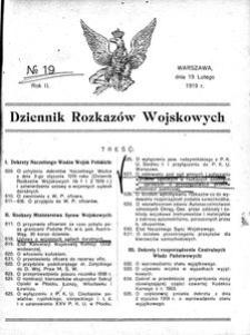 Dziennik Rozkazów Wojskowych, 1919, R. 2, nr 19