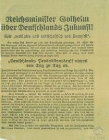 Reichsminister Gotheim über Deutschlands Zukunft!