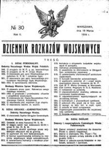 Dziennik Rozkazów Wojskowych, 1919, R. 2, nr 30