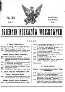 Dziennik Rozkazów Wojskowych, 1919, R. 2, nr 33