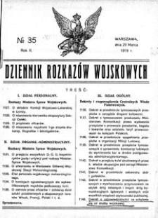 Dziennik Rozkazów Wojskowych, 1919, R. 2, nr 35