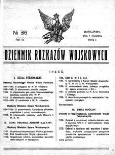 Dziennik Rozkazów Wojskowych, 1919, R. 2, nr 36