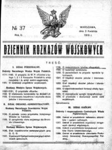Dziennik Rozkazów Wojskowych, 1919, R. 2, nr 37