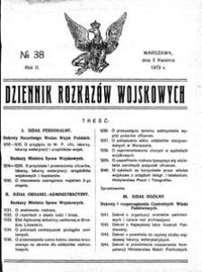 Dziennik Rozkazów Wojskowych, 1919, R. 2, nr 38