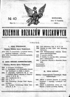 Dziennik Rozkazów Wojskowych, 1919, R. 2, nr 40