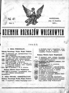Dziennik Rozkazów Wojskowych, 1919, R. 2, nr 41