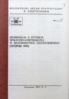 Informacja o sytuacji społeczno-gospodarczej w województwie częstochowskim, listopad 1993
