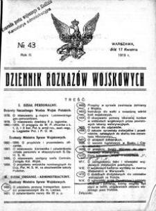 Dziennik Rozkazów Wojskowych, 1919, R. 2, nr 43