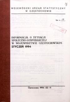 Informacja o sytuacji społeczno-gospodarczej w województwie częstochowskim, styczeń 1994