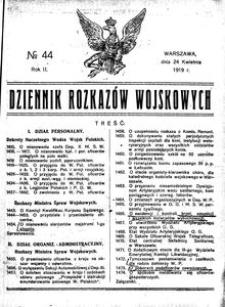 Dziennik Rozkazów Wojskowych, 1919, R. 2, nr 44