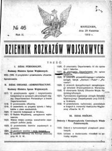 Dziennik Rozkazów Wojskowych, 1919, R. 2, nr 46