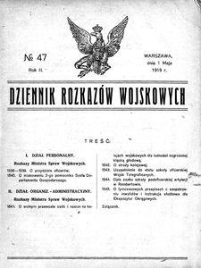 Dziennik Rozkazów Wojskowych, 1919, R. 2, nr 47