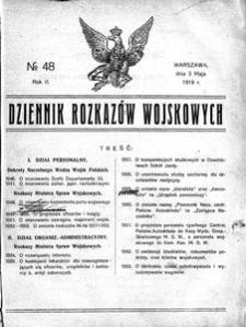 Dziennik Rozkazów Wojskowych, 1919, R. 2, nr 48
