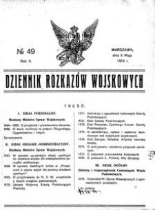 Dziennik Rozkazów Wojskowych, 1919, R. 2, nr 49