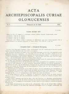 Acta Curiae Archiepiscopalis Olomucensis 1937, nr 7.
