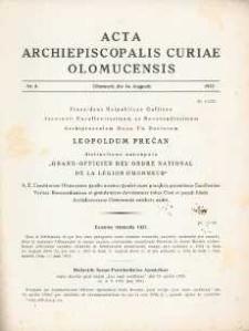 Acta Curiae Archiepiscopalis Olomucensis 1937, nr 8.