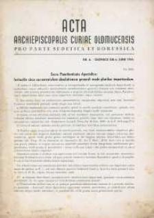 Acta Curiae Archiepiscopalis Olomucensis pro parte Sudetica et Borussica 1944, nr 6.