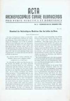 Acta Curiae Archiepiscopalis Olomucensis pro parte Sudetica et Borussica 1945, nr 2.