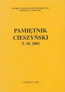 Pamiętnik Cieszyński, 2003, T. 18