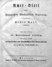 Amts-Blatt der Königlichen Breslauschen Regierung, 1811, Bd. 1. Chronologisches Verzeichniß