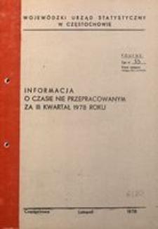 Informacja o czasie nie przepracowanym za III kwartał 1978 roku