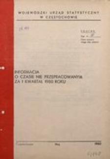 Informacja o czasie nie przepracowanym za I kwartał 1980 roku