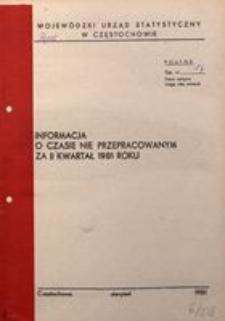 Informacja o czasie nie przepracowanym za II kwartał 1981 roku