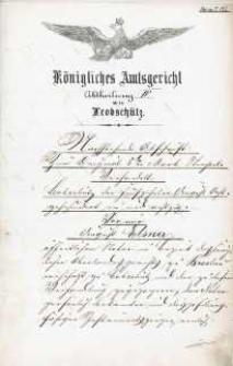 Wyrok Królewskiego Sądu Rejonowego w Głubczycach z 7.08.1882 r.