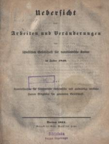 Uebersicht der Arbeiten und Veränderungen der schlesischen Gesellschaft für vaterländische Kultur im Jahre 1840