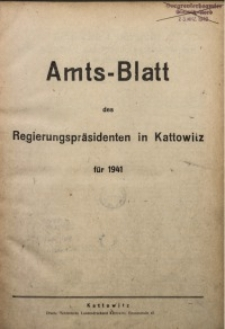 Zeitliche Übersicht zum Amtsblatt des Regierungspräsidenten in Kattowitz für das Jahr 1941