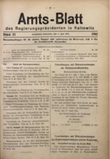 Amts-Blatt des Regierungspräsidenten in Kattowitz, 1941, St. 23
