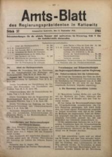 Amts-Blatt des Regierungspräsidenten in Kattowitz, 1941, St. 37