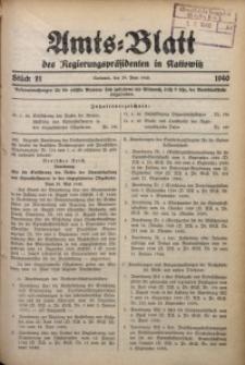Amts-Blatt des Regierungspräsidenten in Kattowitz, 1940, St. 21