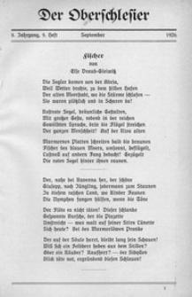 Der Oberschlesier, 1926, Jg. 8, Heft 9