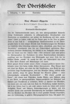 Der Oberschlesier, 1926, Jg. 8, Heft 11