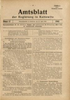 Amtsblatt der Regierung in Kattowitz, 1943, St. 17