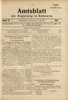 Amtsblatt der Regierung in Kattowitz, 1943, St. 19