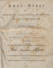 Amts-Blatt der Königlichen Oppelnschen Regierung vom 7. May bis letzten December 1816. 1. Bd., St. 1-35