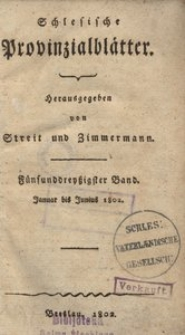Schlesische Provinzialblätter, 1802, 35. Bd., 1. St.: Januar