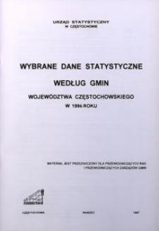Wybrane dane statystyczne według gmin województwa częstochowskiego w 1996 roku