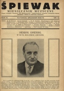 Śpiewak, 1930, R. 11, nr 12