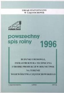 Powszechny Spis Rolny 1996. Budynki i budowle, infrastruktura techniczna i środki produkcji w rolnictwie na terenie województwa częstochowskiego