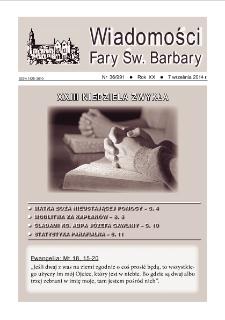 Wiadomości Fary Św. Barbary, 2014, R. 20, nr 36
