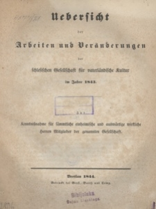 Uebersicht der Arbeiten und Veränderungen der schlesischen Gesellschaft für vaterländische Kultur im Jahre 1843