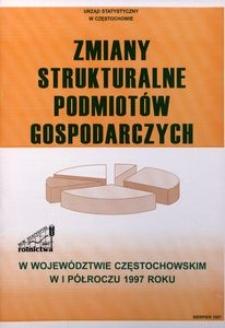 Zmiany strukturalne podmiotów gospodarczych w województwie częstochowskim w I półroczu 1997 roku