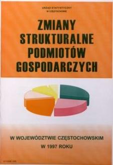 Zmiany strukturalne podmiotów gospodarczych w województwie częstochowskim w 1997 roku